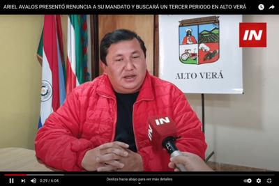 ARIEL AVALOS PRESENTÓ RENUNCIA A SU MANDATO Y BUSCARÁ UN TERCER PERIODO EN ALTO VERÁ
