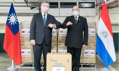 Taiwán donó 120 concentradores de oxígeno para uso de pacientes respiratorios