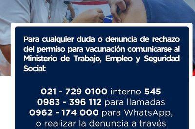 Ministerio de Trabajo fiscalizará empresas que nieguen permiso para vacunación contra Covid-19