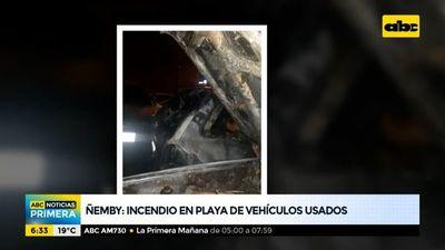 Incendio en playa de vehículos usados en Ñemby