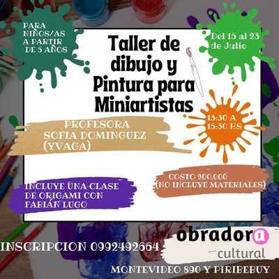 """""""Taller de dibujo y pintura para Miniartistas"""" desde este jueves en la Obradora Cultural"""