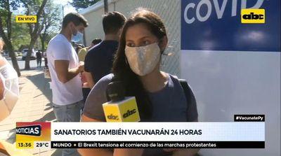 Sanatorios también vacunarán 24 horas