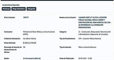 La Nación / Lluvia de confusiones en licitación del Gran Hospital del Sur del MOPC