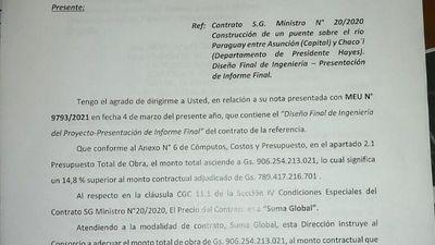 Rechazo a sobrecosto del puente a Chaco'i causa destitución en MOPC