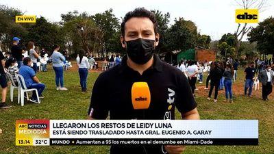Aguardan los restos de Leidy Luna en su comunidad en Guairá