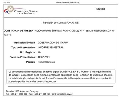 PRESENTACIÓN DE RENDICIÓN DE FONACIDE, POR PARTE DE LA GOBERNACIÓN DE ITAPÚA