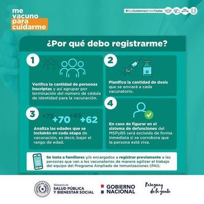 Recuerdan importancia de registrarse para agilizar filas y proceso de vacunación