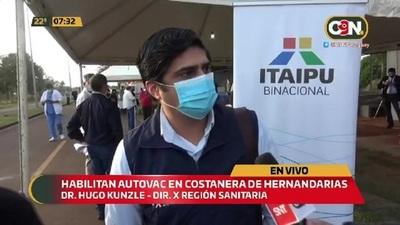 Habilitan autovac en la Costanera de Hernandarias para vacunación anticovid