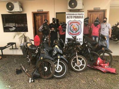 Detienen a tres personas y recuperan cinco motocicletas hurtadas