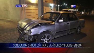 Conductor choca a cinco vehículos estacionados en Asunción