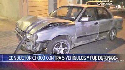 Ebrio  choca contra cinco autos  en zona de manifestantes