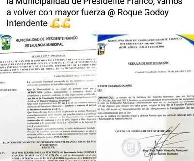 Julia Ferreira inicia feroz persecución a liberales en la Municipalidad de Franco