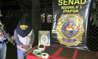 Detienen a un hombre con 850 bolitas de hachís en María Auxiliadora, Itapúa