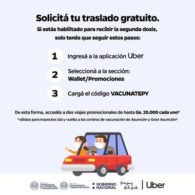 Mitic y Uber ofrecen traslados gratuitos a puestos de vacunación