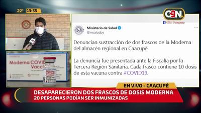 Denuncian robo de 2 frascos con 20 dosis de vacuna anticovid de #Moderna en Caacupé