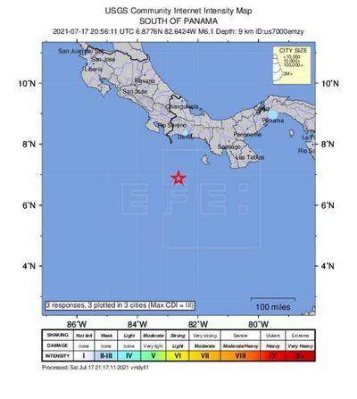 Un sismo de magnitud 6,4, con epicentro en el mar, sacude zonas de Panamá