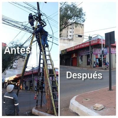 ANDE retira maraña de cables del microcentro de Ciudad del Este