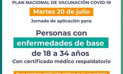 Hoy se vacunan personas con enfermedades de base