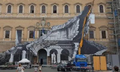 """Artista """"raja"""" un palacio renacentista de Roma con una ilusión óptica"""