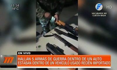 Hallan armas de guerra dentro de un vehículo importado vía Chile