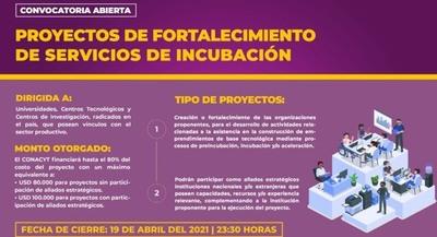 El CONACYT lanza convocatoria 2021 para fortalecer capacidades de incubadoras