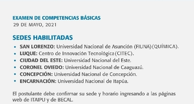 Examen para becas Itaipú se desarrollará en varias sedes habilitadas