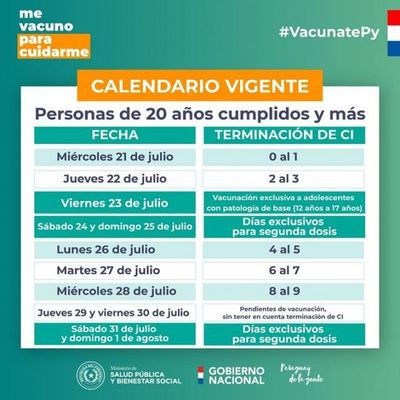 Personas con 20 años y más serán vacunadas desde este miércoles