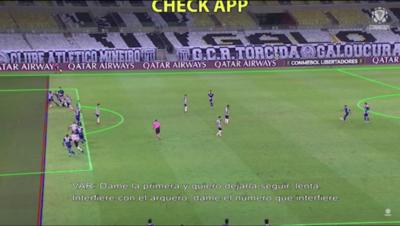 Así analizó el VAR el milimétrico fuera de juego en Mineiro-Boca
