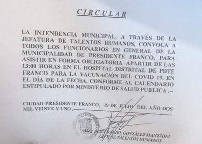 Polémica circular sobre vacunación en Pdte. Franco