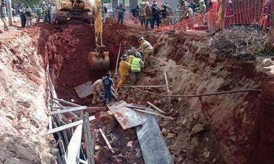 Dos obreros heridos tras derrumbe en obra de Asunción
