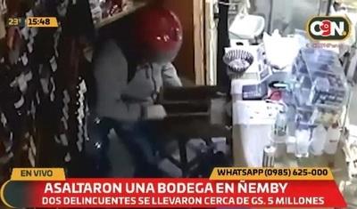 Cámaras captan asalto de bodega en Ñemby