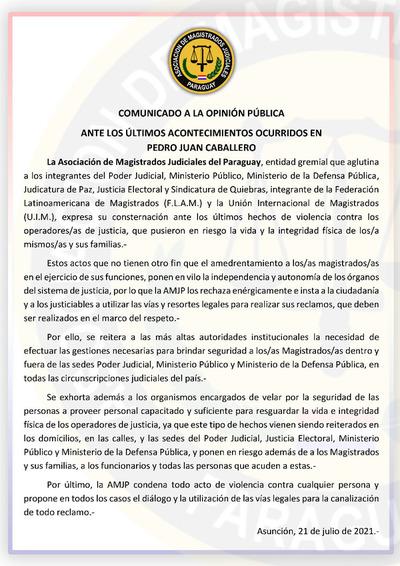 AMJP pide seguridad para todos los operadores de justicia
