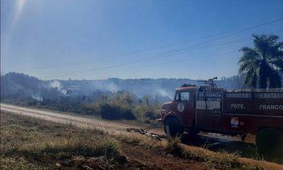 Reportan quema de pastizal en Franco