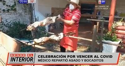 Médico que venció al Covid-19 reparte asado a familiares de pacientes