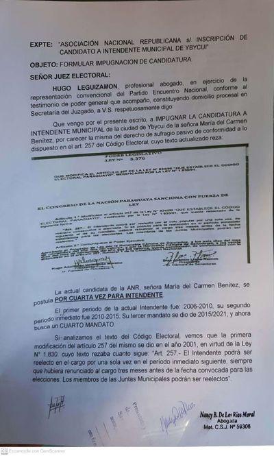 Piden impugnar candidatura a intendente de Ybycuí
