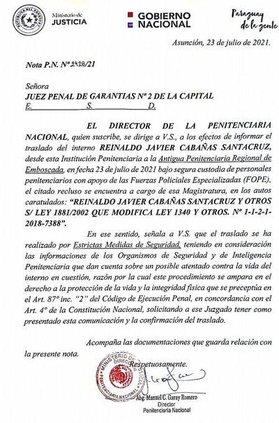 """Trasladado """"Cucho"""" Cabaña ante posible atentado"""