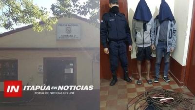 DOS LADRONES DE CABLE FUERON ATRAPADOS INFRAGANTI POR LA POLICIAL