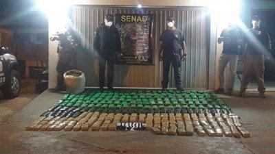 Senad incauta 200 kilos de marihuana abandonada en un puerto clandestino en Canindeyú