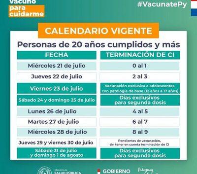 Vacunación a mayores de 20 años reinicia este lunes