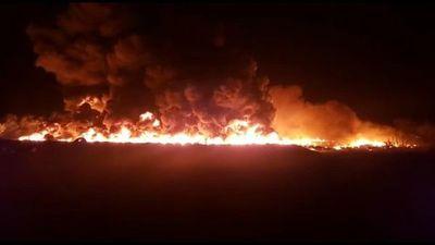 Incendio de unas 30.000 cubiertas en Minga Guazú