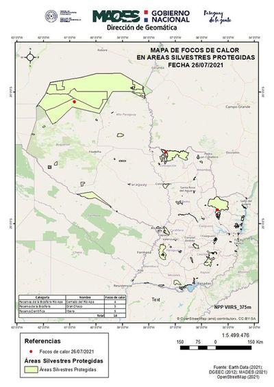 Preocupan focos de calor en áreas silvestres protegidas
