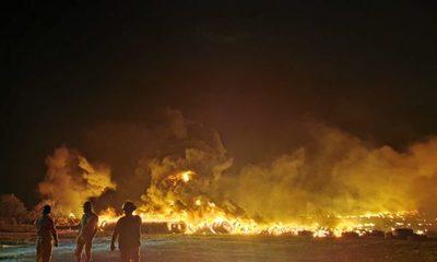 Criminal quema de cubiertas en Minga Guazú