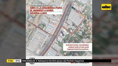 Habilitan giro a la izquierda sobre la ruta PY03 General Aquino