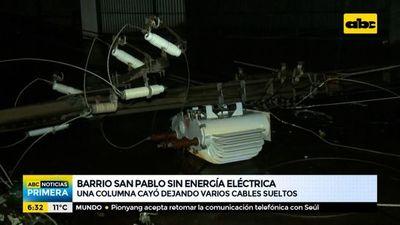 Columna cayó y dejó sin energía eléctrica a gran parte del barrio San Pablo
