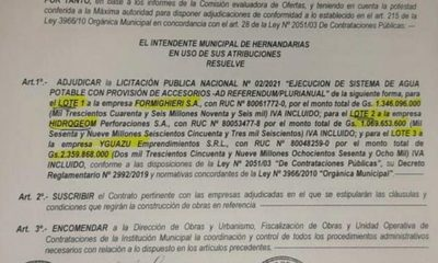 """Intendente en retirada adjudica excavación de 17 """"pozos de oro"""", por G. 4.775 millones en Hernandarias"""