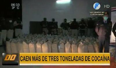 Confirman incautación récord de más de 3.000 kilos de cocaína