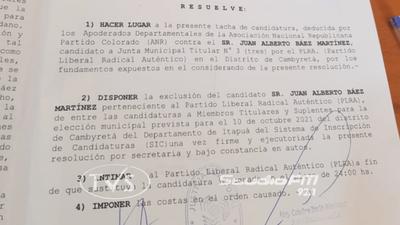 JUSTICIA ELECTORAL TACHA CANDIDATURA DE ALBERTO BÁEZ