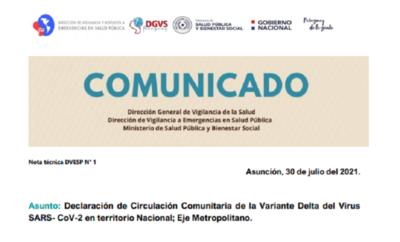 Salud confirma circulación de variante Delta, Asunción y Central principales focos