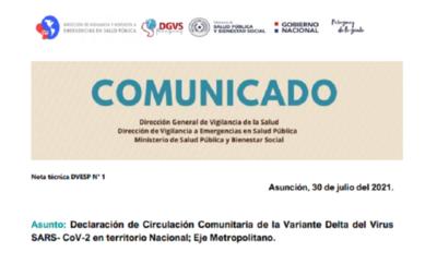 Salud confirma circulación comunitaria de la variante Delta en Asunción y Central