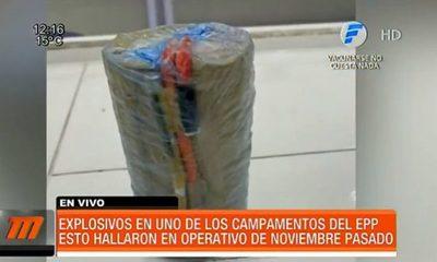 Explosivos hallados en uno de los campamentos del grupo armado